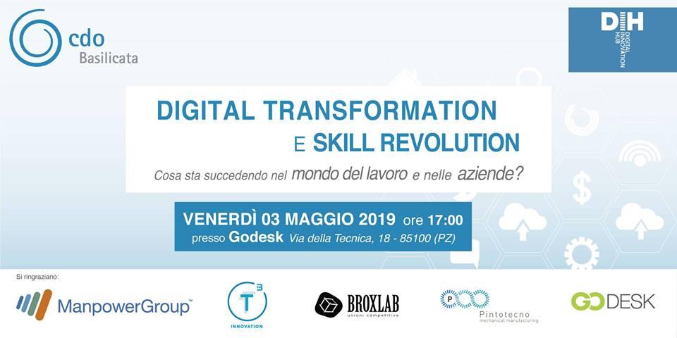 """Locandina evento """"Digital Transformation e Skill Revolution"""" Godesk - venerdì 3 maggio 2019 ore 17.00"""